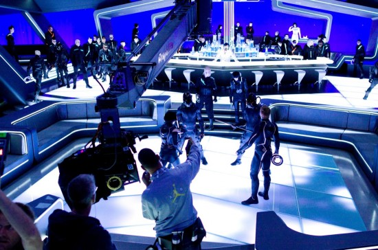 Olivia Wilde and Garrett Hedlund on the set of TRON LEGACY