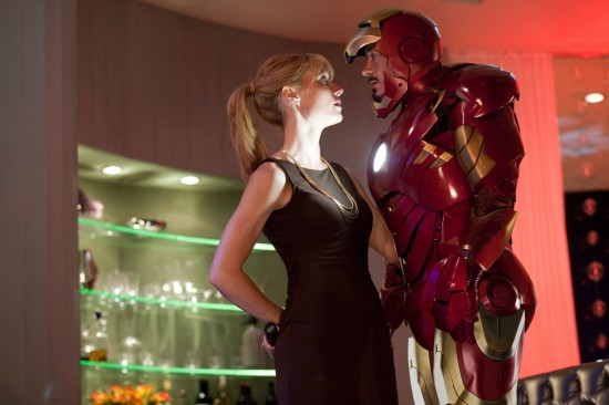 Gwyneth Paltrow and Robert Downey Jr. in Iron Man 2 movie