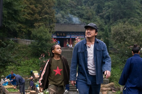 Jaden Smith and Jackie Chan in The Karate Kid movie