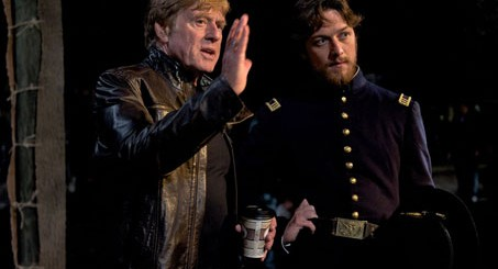 Director Robert Redford and James MacAvoy as Frederick Aiken - The Conspirator movie