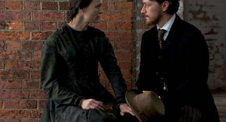 Robin Wright as Mary Surratt and James MacAvoy as Frederick Aiken - The Conspirator movie