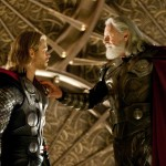 THOR movie photo with Chris Hemsworth and Anthony Hopkins