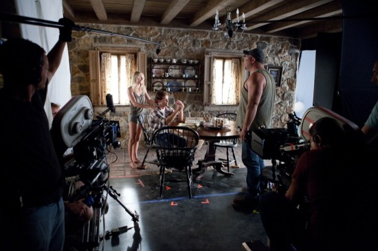 On set with Kate Bosworth, James Marsden and     in Screen Gems' STRAW DOGS.
